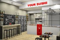 Your Sushi Roma, rendering del locale vista frontale 2